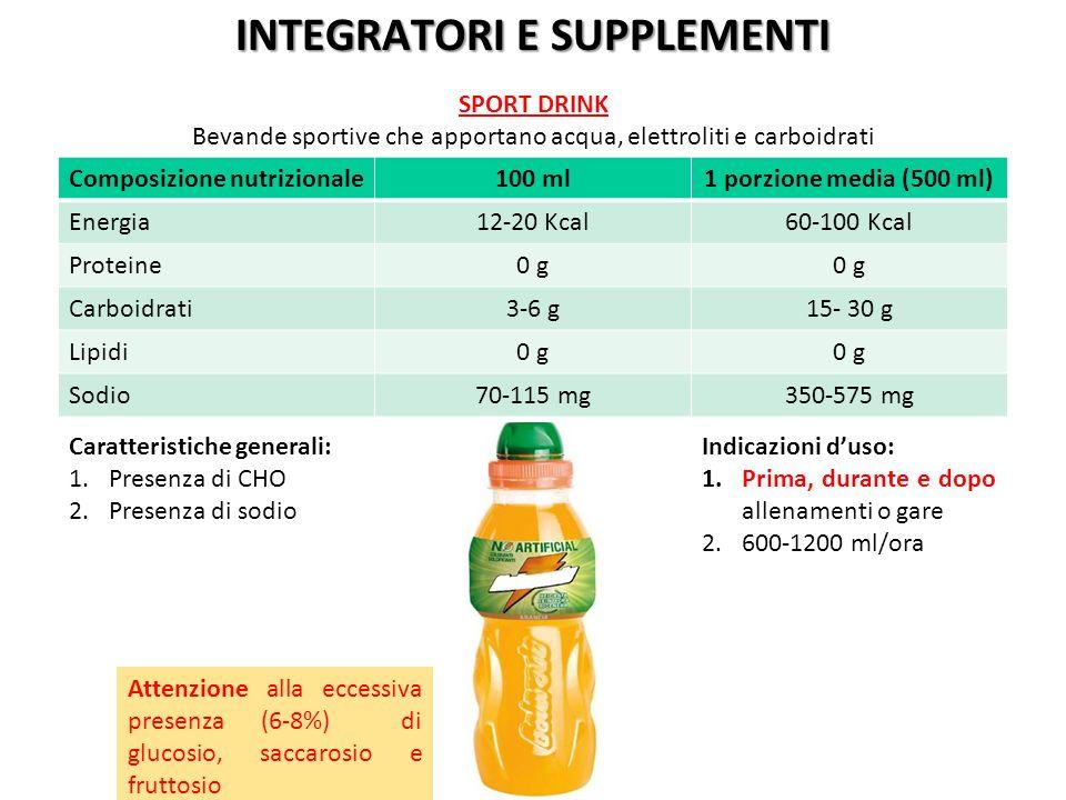 INTEGRATORI E SUPPLEMENTI Composizione nutrizionale