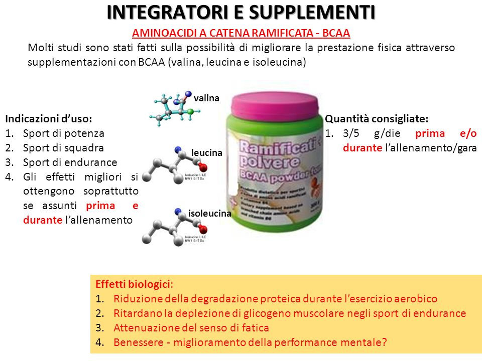 INTEGRATORI E SUPPLEMENTI AMINOACIDI A CATENA RAMIFICATA - BCAA