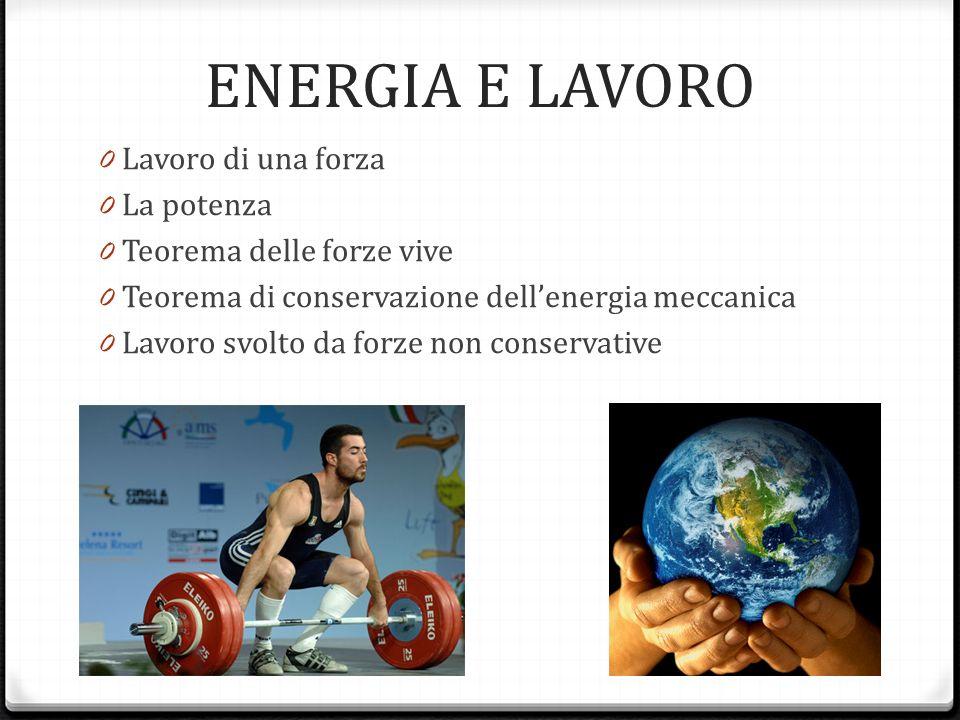 ENERGIA E LAVORO Lavoro di una forza La potenza