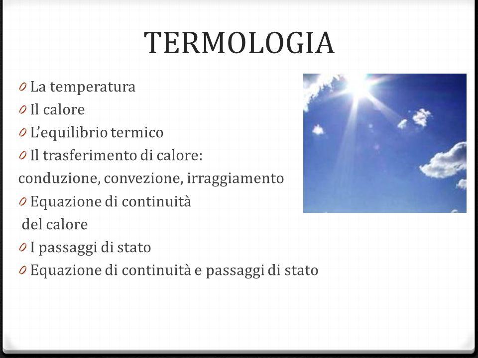 TERMOLOGIA La temperatura Il calore L'equilibrio termico
