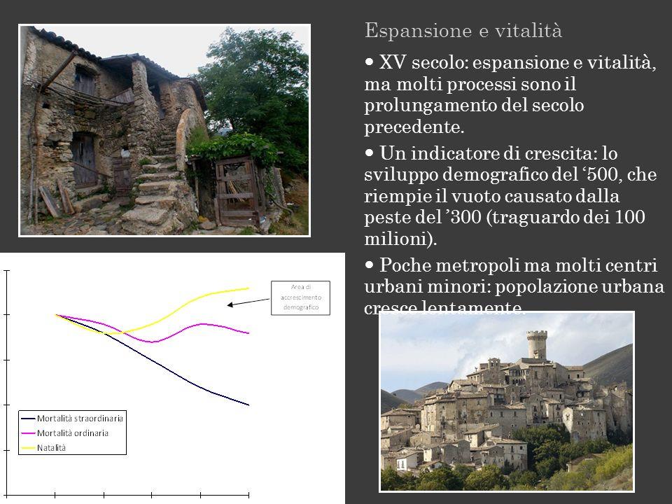 Espansione e vitalità  XV secolo: espansione e vitalità, ma molti processi sono il prolungamento del secolo precedente.