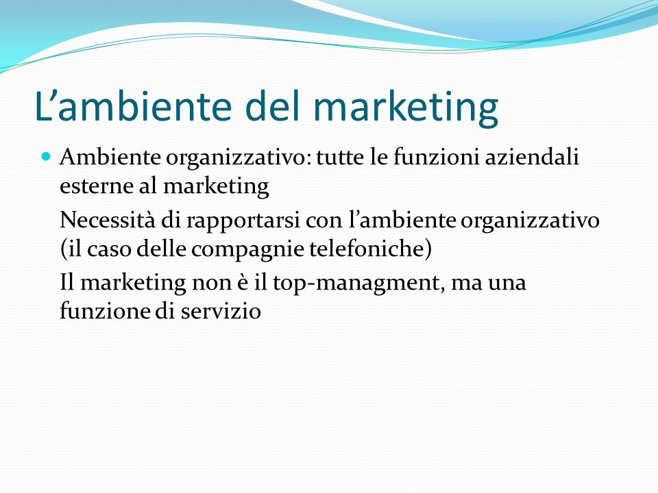 L'ambiente del marketing