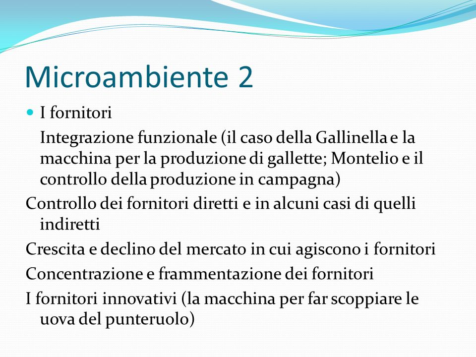 Microambiente 2 I fornitori