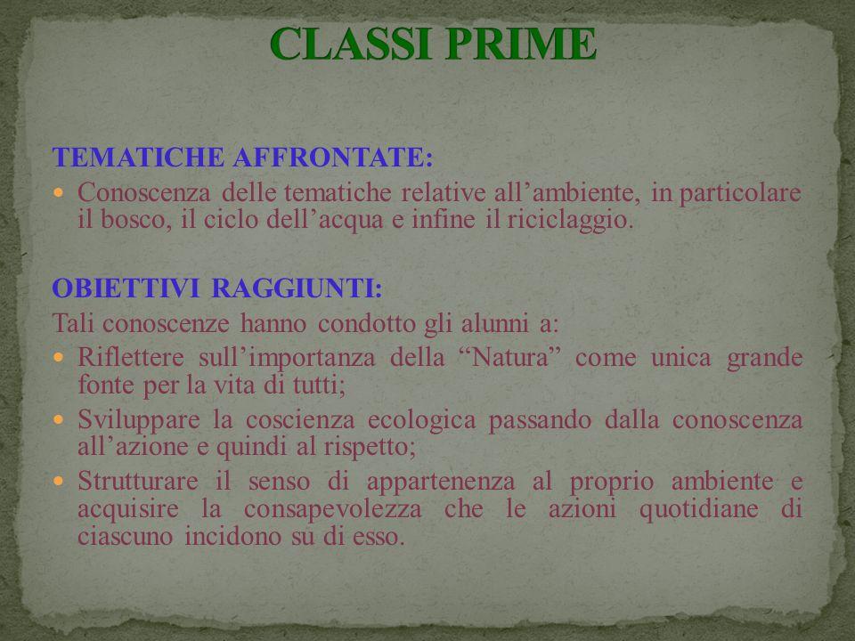 CLASSI PRIME TEMATICHE AFFRONTATE: