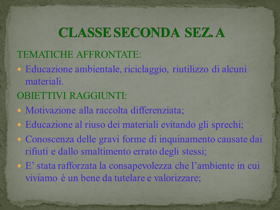 CLASSE SECONDA SEZ. A TEMATICHE AFFRONTATE:
