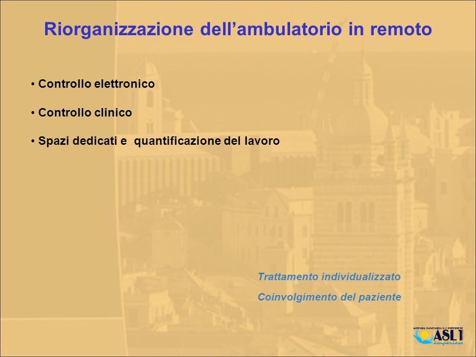 Riorganizzazione dell'ambulatorio in remoto