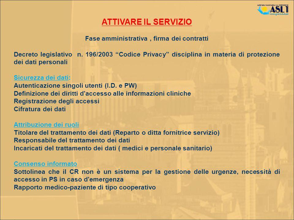 Fase amministrativa , firma dei contratti