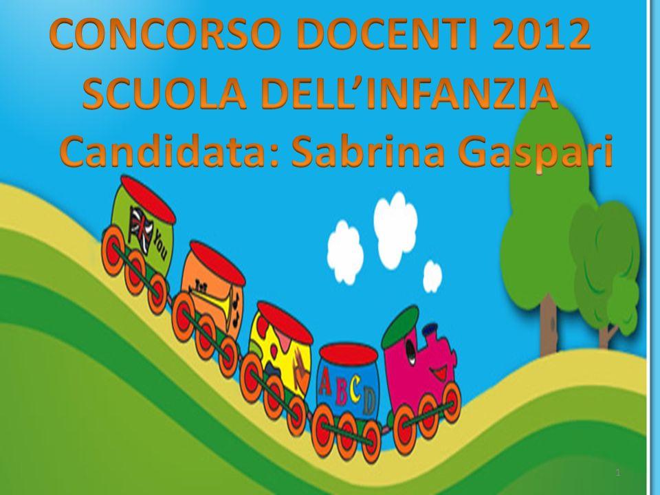 CONCORSO DOCENTI 2012 SCUOLA DELL'INFANZIA Candidata: Sabrina Gaspari