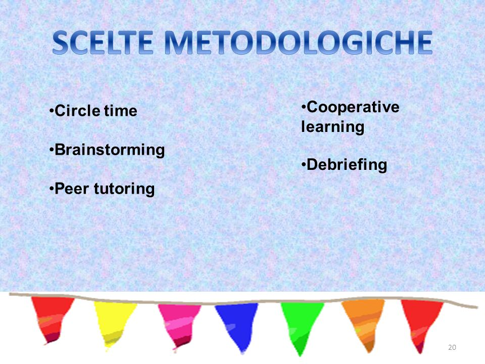 SCELTE METODOLOGICHE Cooperative learning Circle time Brainstorming