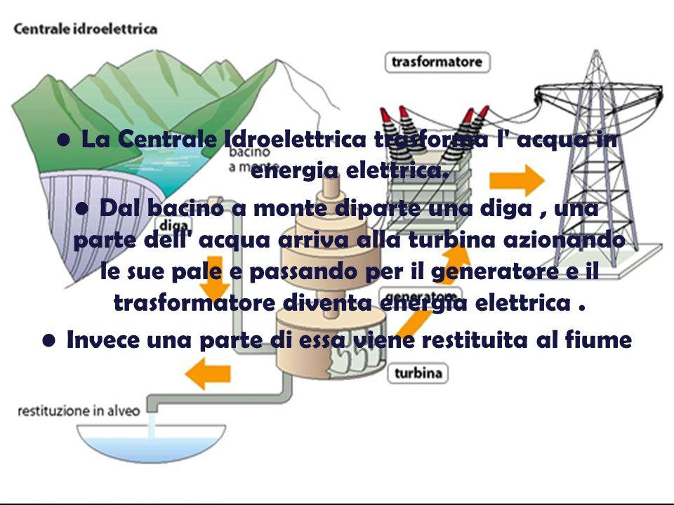 La Centrale Idroelettrica trasforma l acqua in energia elettrica.