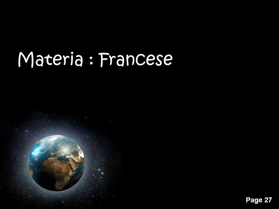 Materia : Francese