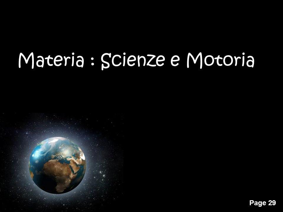 Materia : Scienze e Motoria