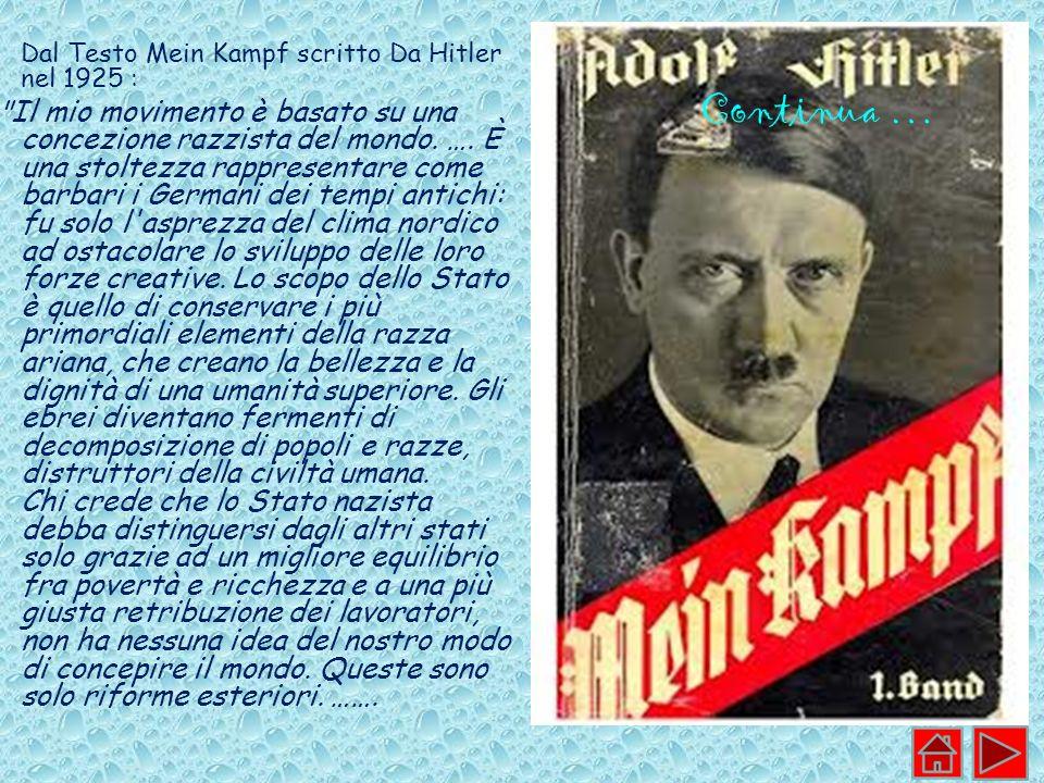 Dal Testo Mein Kampf scritto Da Hitler nel 1925 :
