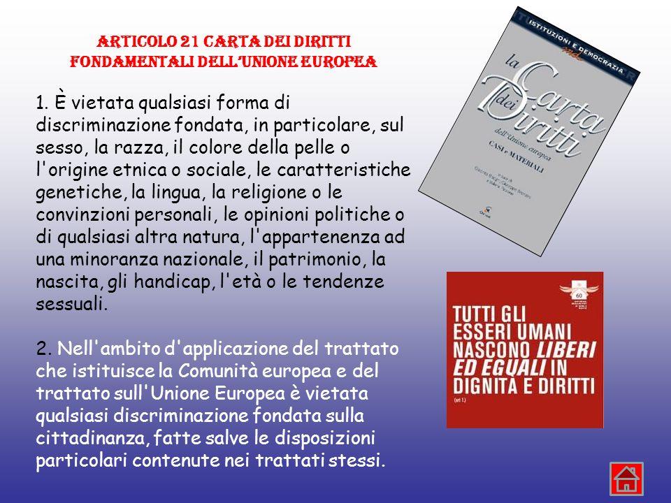 ARTICOLO 21 CARTA DEI DIRITTI FONDAMENTALI DELL'UNIONE EUROPEA
