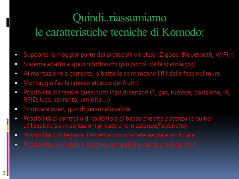Quindi..riassumiamo le caratteristiche tecniche di Komodo: