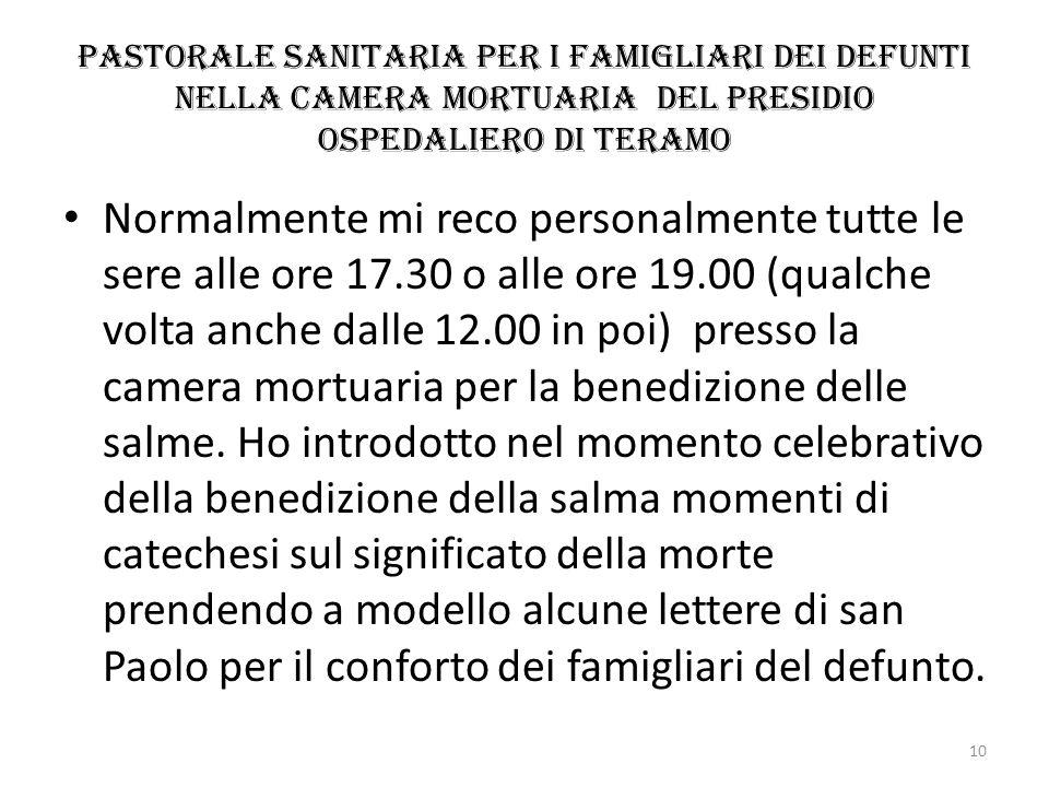 Pastorale sanitaria per i famigliari dei defunti nella camera mortuaria del presidio ospedaliero di Teramo