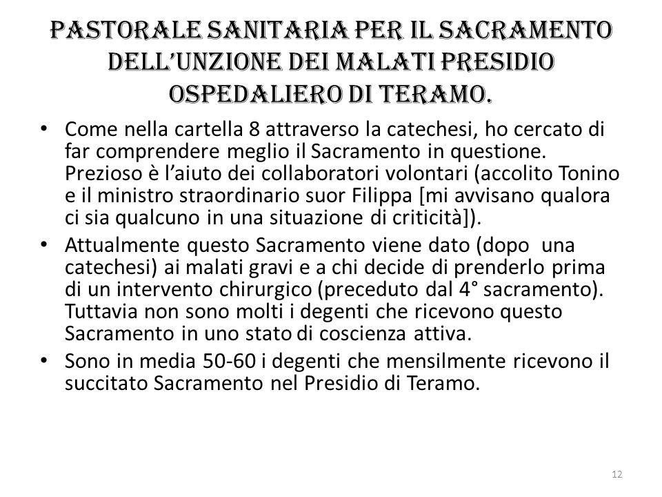 Pastorale sanitaria per il sacramento dell'Unzione dei malati Presidio ospedaliero di Teramo.