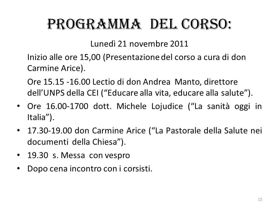 Programma del corso: Lunedì 21 novembre 2011