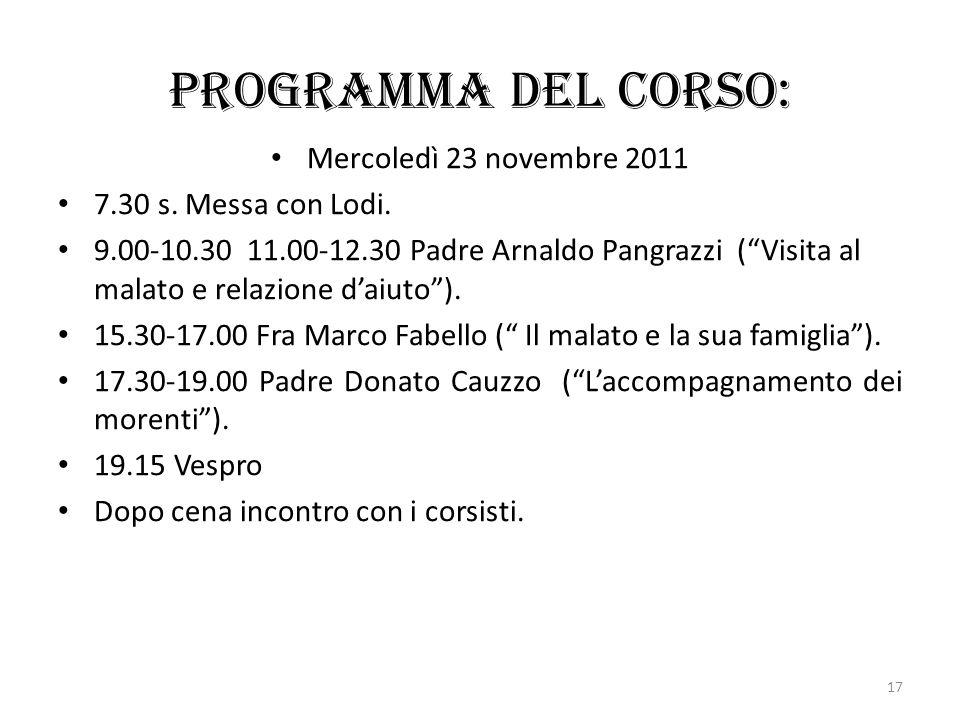 Programma del corso: Mercoledì 23 novembre 2011