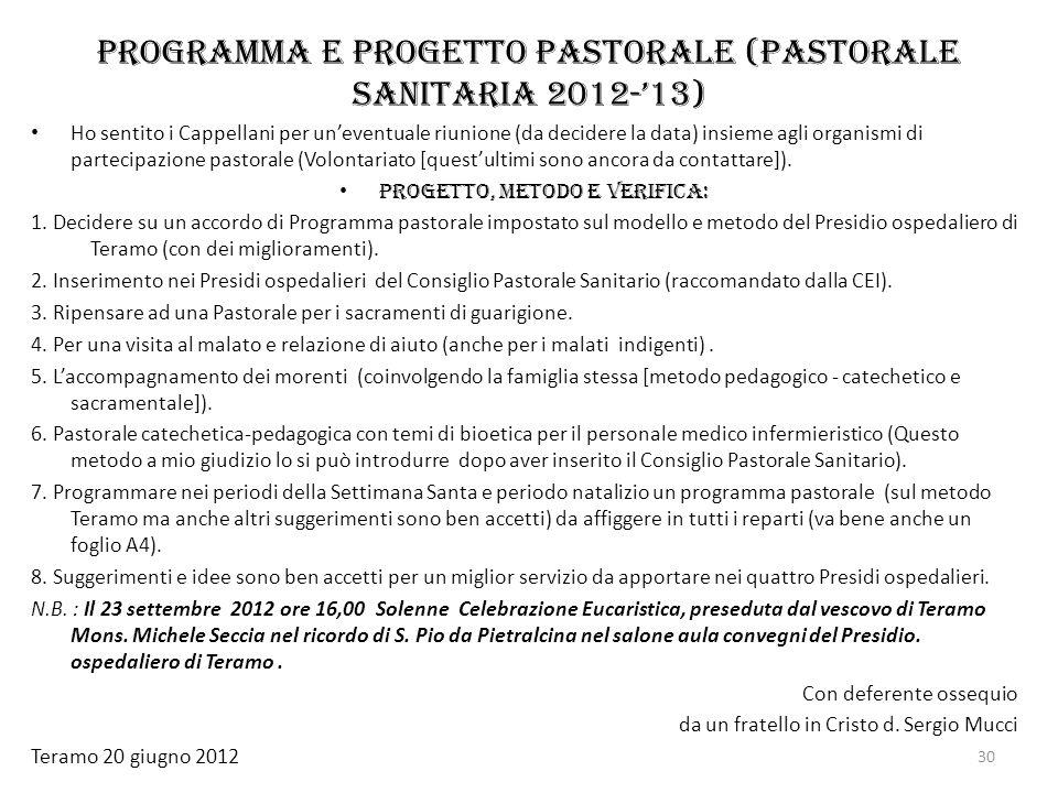 Programma e progetto pastorale (Pastorale sanitaria 2012-'13)
