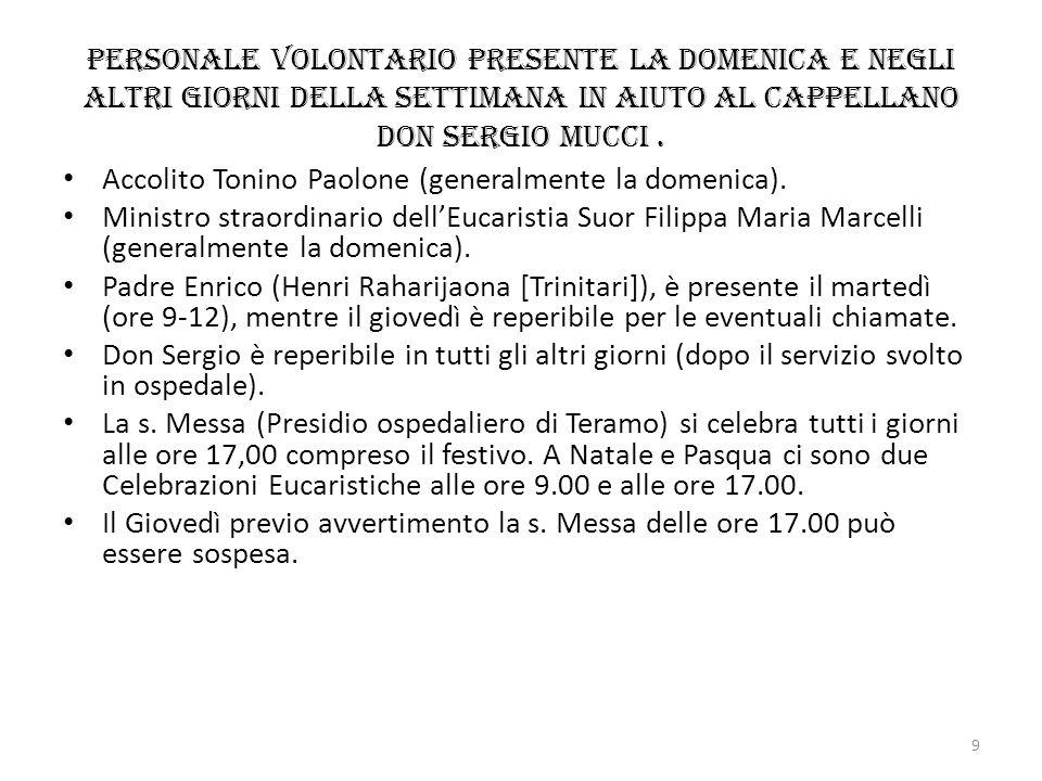 Personale volontario presente la domenica e negli altri giorni della settimana in aiuto al Cappellano don Sergio Mucci .