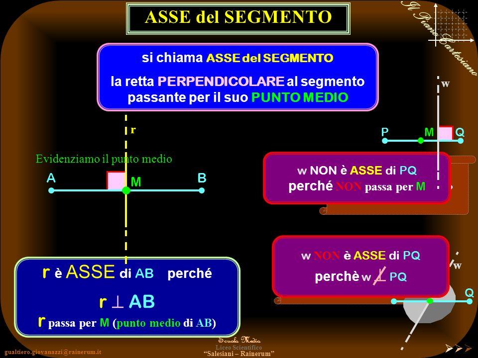 si chiama ASSE del SEGMENTO la retta PERPENDICOLARE al segmento