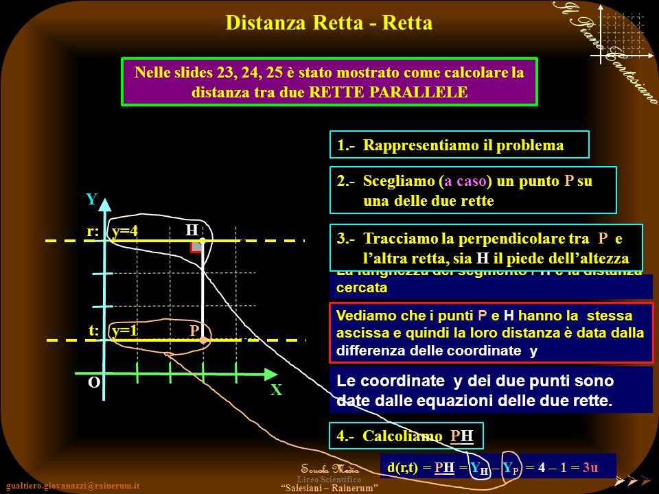 Distanza Retta - Retta Nelle slides 23, 24, 25 è stato mostrato come calcolare la distanza tra due RETTE PARALLELE.