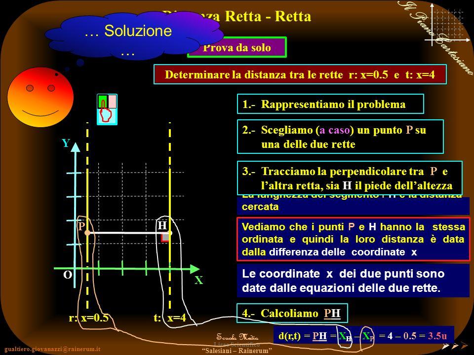 Determinare la distanza tra le rette r: x=0.5 e t: x=4