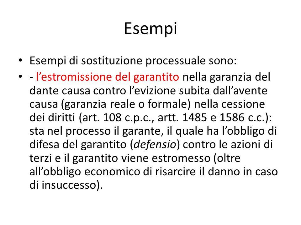 Esempi Esempi di sostituzione processuale sono: