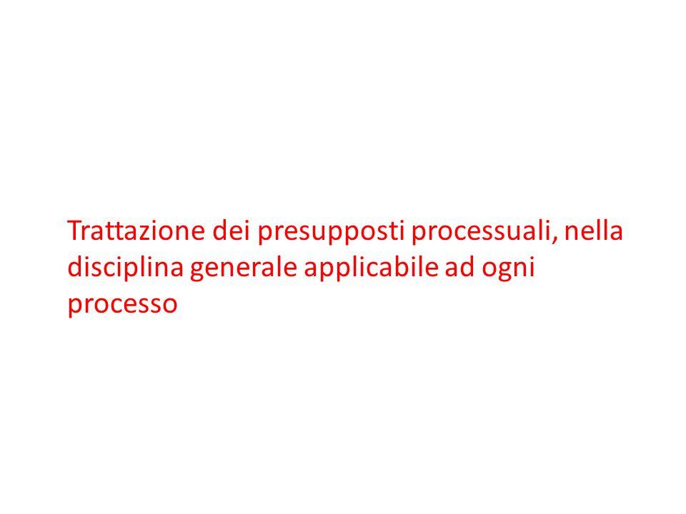 Trattazione dei presupposti processuali, nella disciplina generale applicabile ad ogni processo