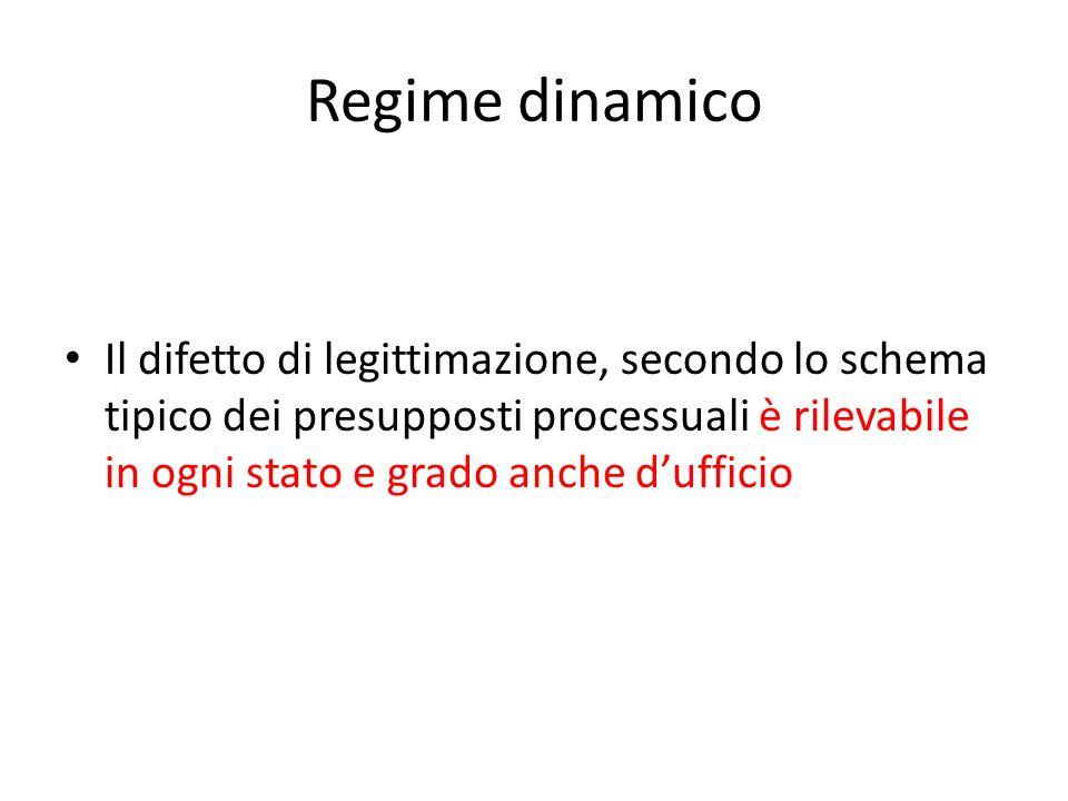 Regime dinamico Il difetto di legittimazione, secondo lo schema tipico dei presupposti processuali è rilevabile in ogni stato e grado anche d'ufficio.