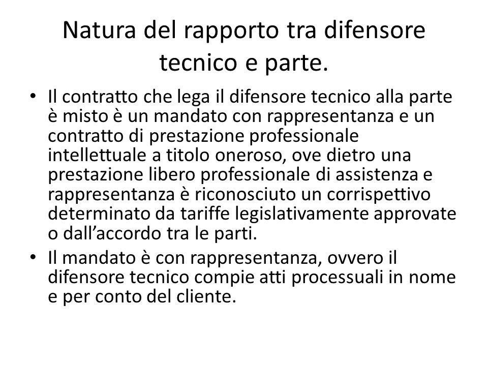 Natura del rapporto tra difensore tecnico e parte.