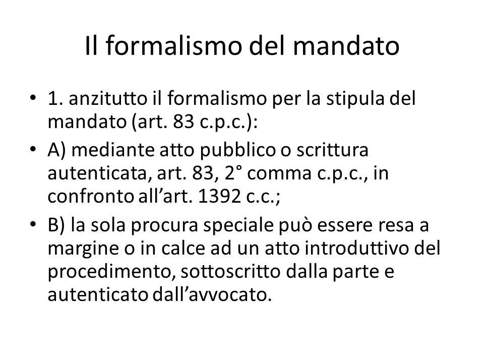 Il formalismo del mandato