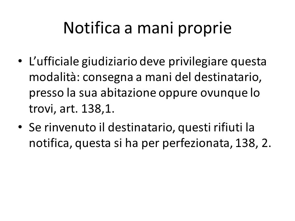 Notifica a mani proprie