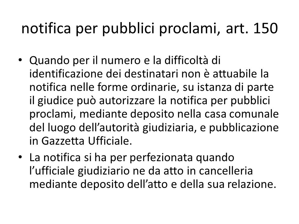 notifica per pubblici proclami, art. 150