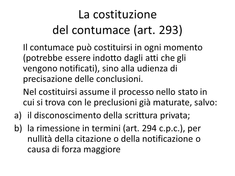 La costituzione del contumace (art. 293)