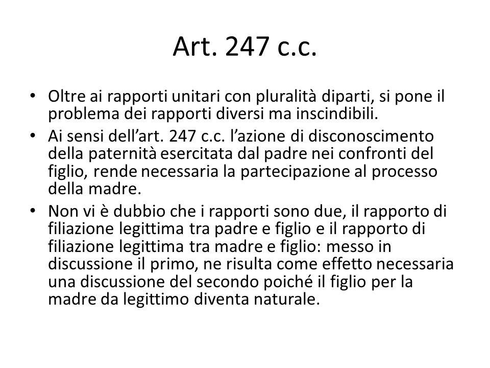 Art. 247 c.c. Oltre ai rapporti unitari con pluralità diparti, si pone il problema dei rapporti diversi ma inscindibili.