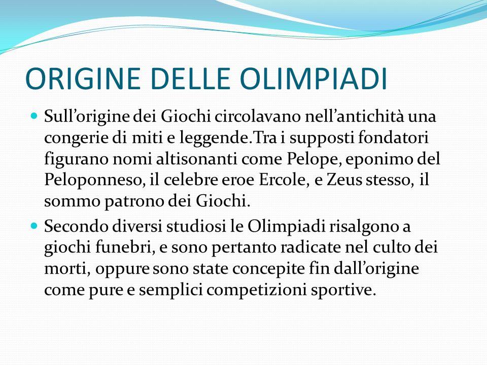 ORIGINE DELLE OLIMPIADI