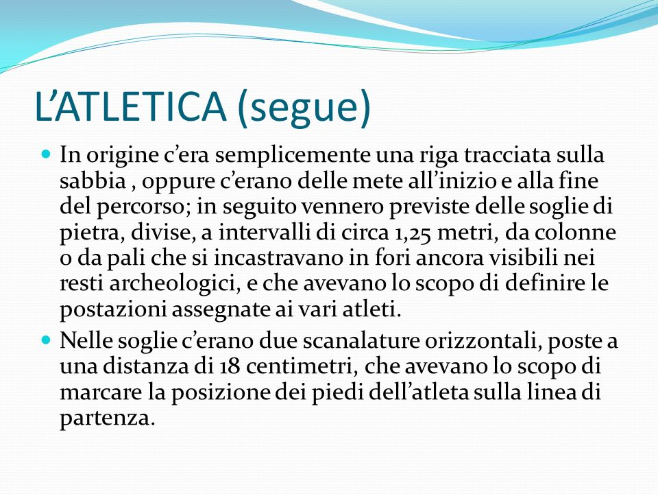 L'ATLETICA (segue)