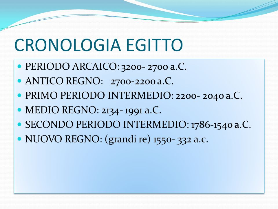 CRONOLOGIA EGITTO PERIODO ARCAICO: 3200- 2700 a.C.