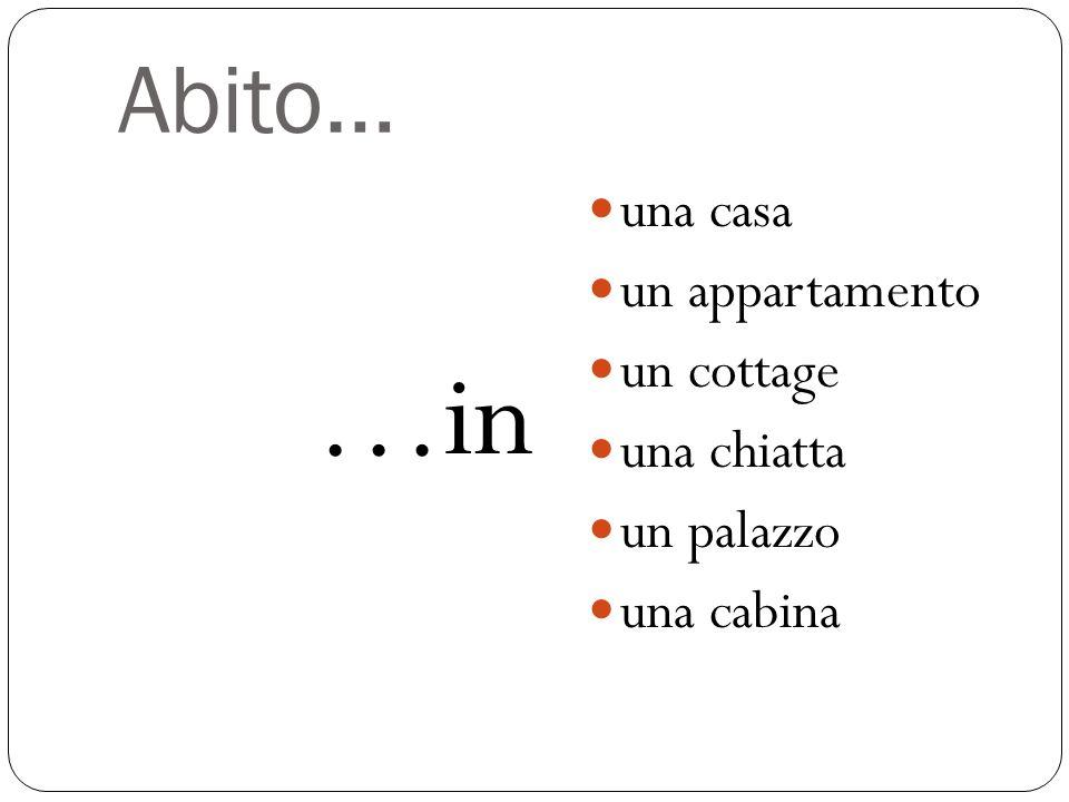 …in Abito… una casa un appartamento un cottage una chiatta un palazzo