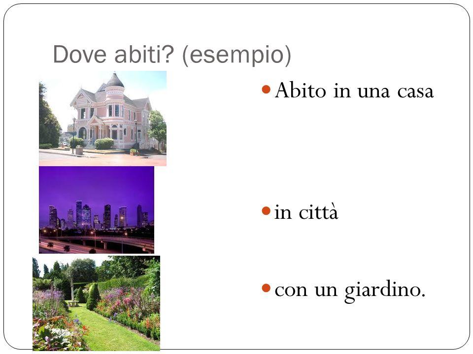 Dove abiti (esempio) Abito in una casa in città con un giardino.