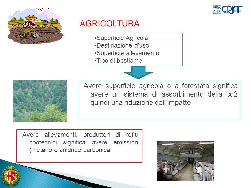 AGRICOLTURA Superficie Agricola. Destinazione d'uso. Superficie allevamento. Tipo di bestiame.