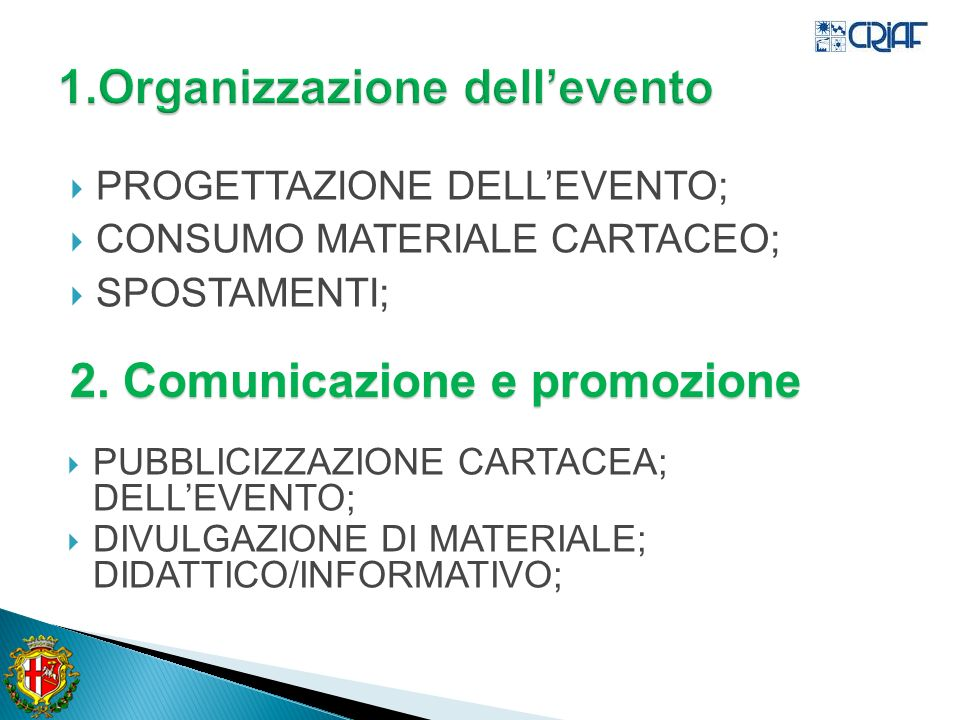 1.Organizzazione dell'evento