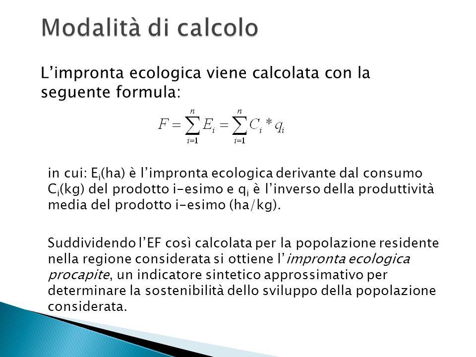 Modalità di calcolo L'impronta ecologica viene calcolata con la seguente formula: