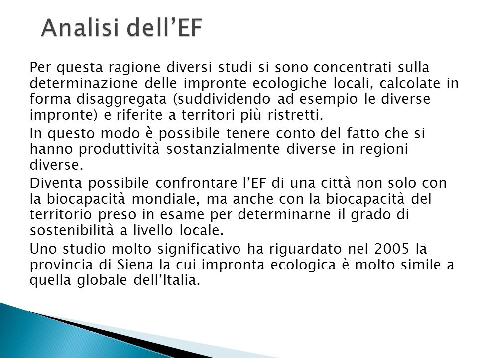 Analisi dell'EF
