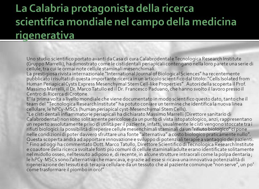 La Calabria protagonista della ricerca scientifica mondiale nel campo della medicina rigenerativa