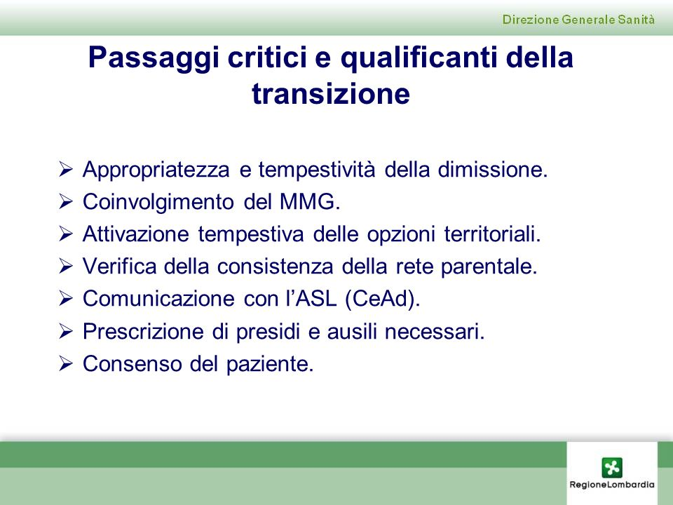 Passaggi critici e qualificanti della transizione
