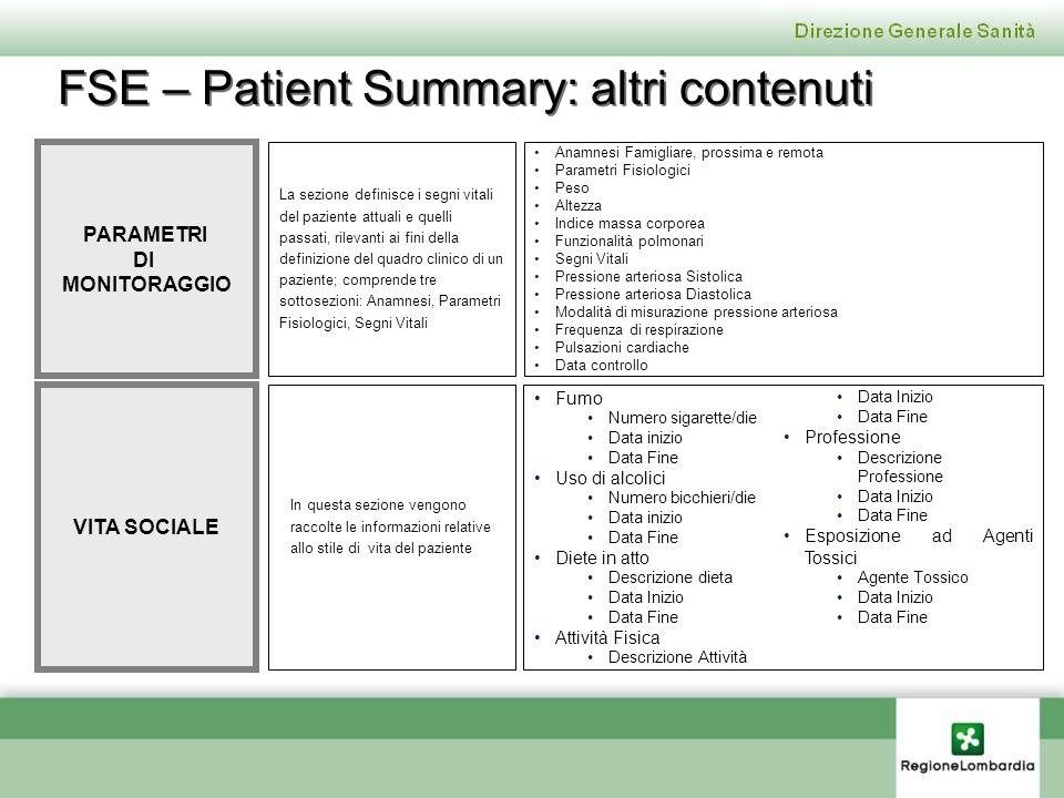 FSE – Patient Summary: altri contenuti
