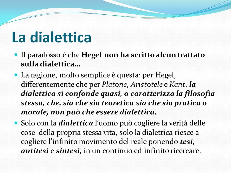 La dialettica Il paradosso è che Hegel non ha scritto alcun trattato sulla dialettica…